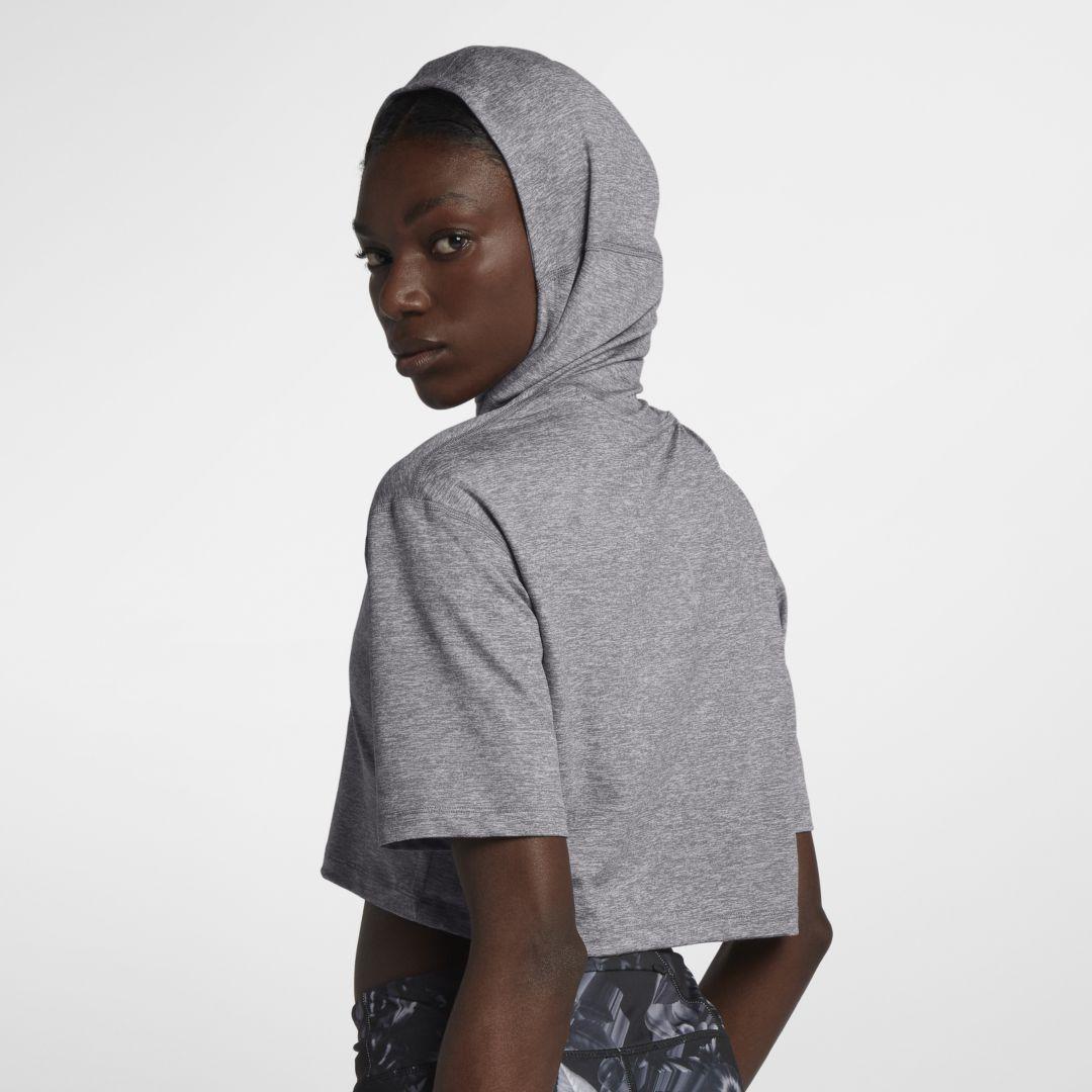 new concept dd596 1ac0d Nike Element Women s Short Sleeve Running Hoodie Size XL (Gunsmoke)
