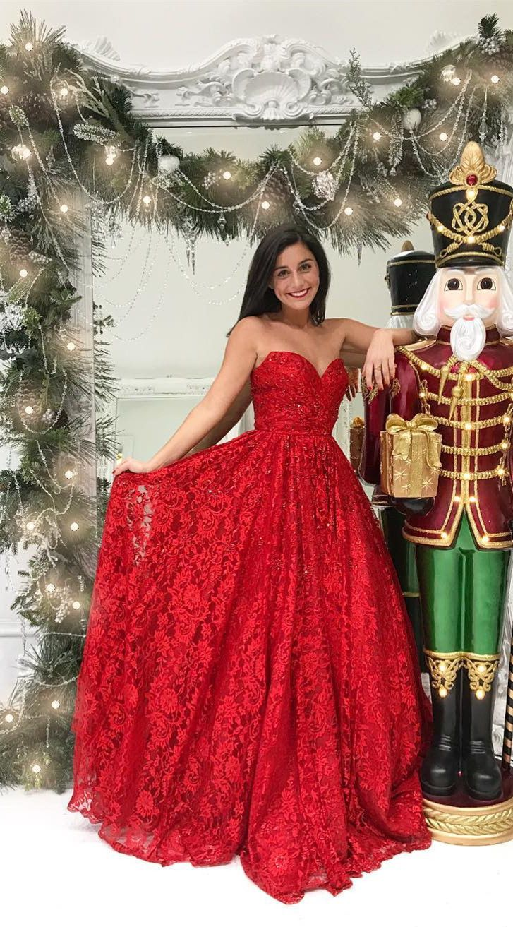 Sweetheart red lace long prom dress long prom dress gorgeous