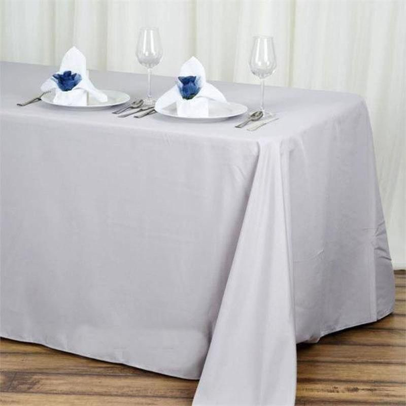 90x132 Silver Polyester Rectangular Tablecloth In 2020 Party