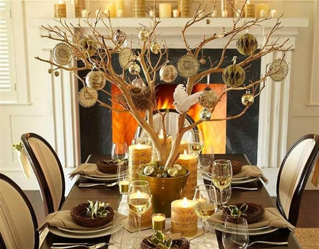 Rectangle Shape Dining Table Centerpieces With Gold Branch Color And Small Yellow Candle Also Cream