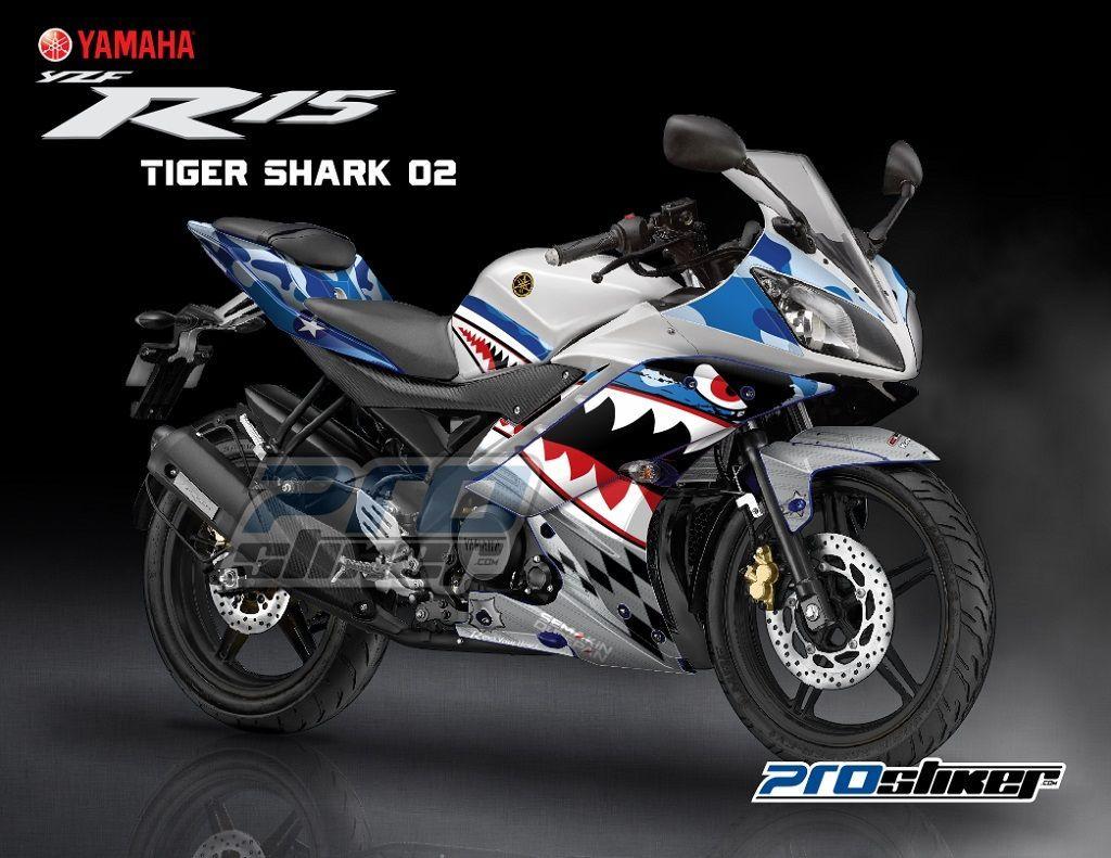 Stiker Motor Yzr 15 Warna Putih Biru Gambar Desain Tiger Shark 02