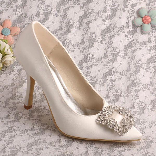 Brand Name Pointed Toe Stilettos Ivory Satin Bridal Shoes Wedding Free Shipping In Women S Pumps From Shoes On Aliexp Bridal Shoes Wedding Shoes Wedding Heels