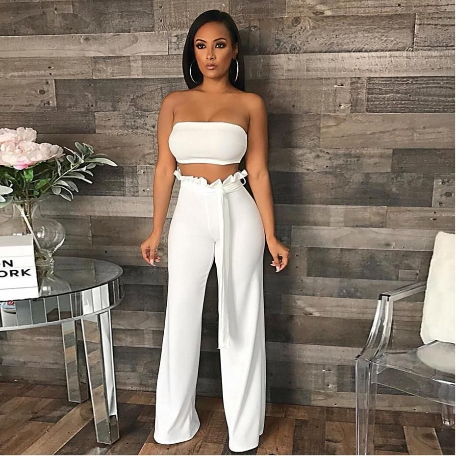 2 Piece Strapless Crop Top Wide Leg Pants Suit White Or Yellow Matching Sets Outfit Fashion Women Pants Casual [ 930 x 930 Pixel ]