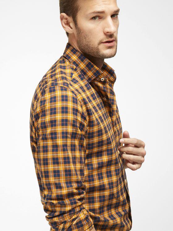 meilleur site france pas cher vente célèbre marque de designer CHEMISE BLEUE ET JAUNE MOUTARDE À CARREAUX SLIM   Chemises ...
