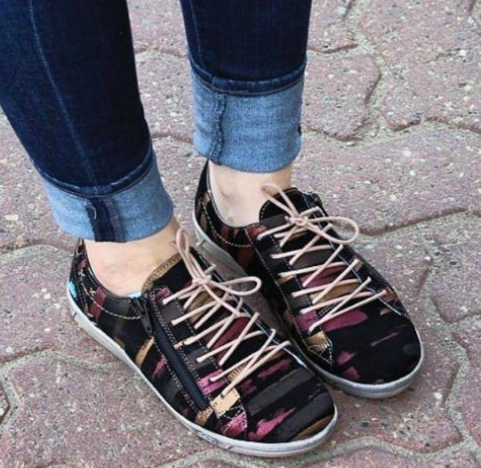 check out 5d98a ae184 Shop Women s CLOUD Aika Lace Sneaker in Black Fantasy at Becker Shoes    Soft, light and flexible, need we say more  Cloud footwear showcases unique  ...