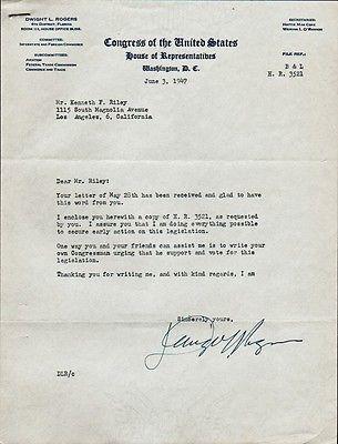 Representative DWIGHT L ROGERS Signed Letter - 1947 Pinterest