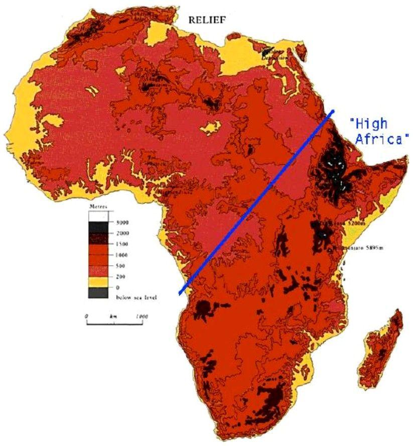 MapAfricaElevation Maps Pinterest - Africa altitude map