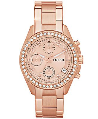 Fossil Watch, Women's Chronograph Decker Rose Gold-Tone Stainless Steel Bracelet 38mm ES3352