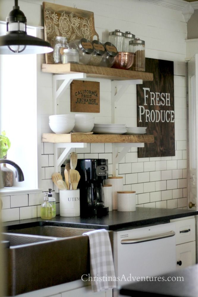 Farmhouse kitchen decorated for fall chunky