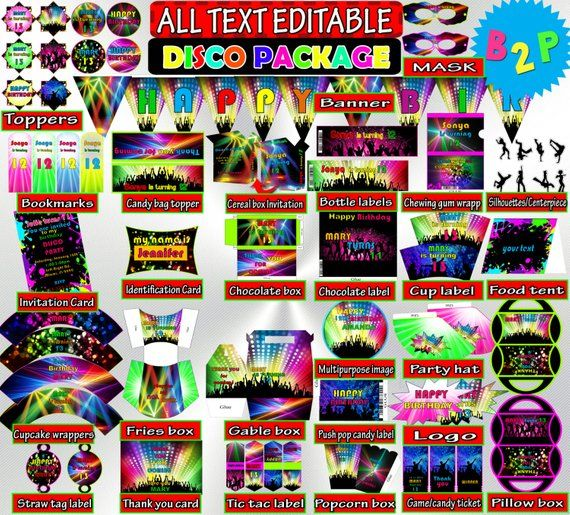Disco Birthday Decorations Editable Package Printable Hat Bottle Labels Invitation Wrappers Top