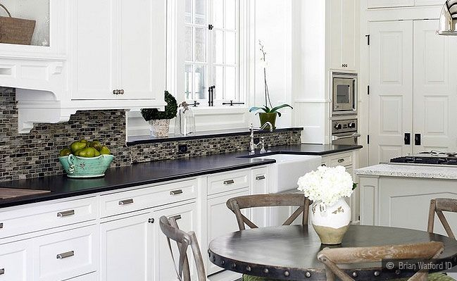 Pin By Andrew On Remodel Kitchen Black Kitchen Countertops Trendy Kitchen Backsplash White Cabinets Black Countertops