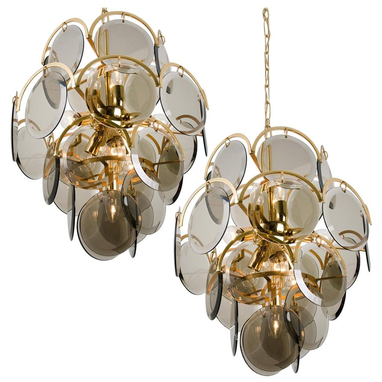 Pair Of Vistosi Chandeliers Pendants Smoked Glass The Style Of