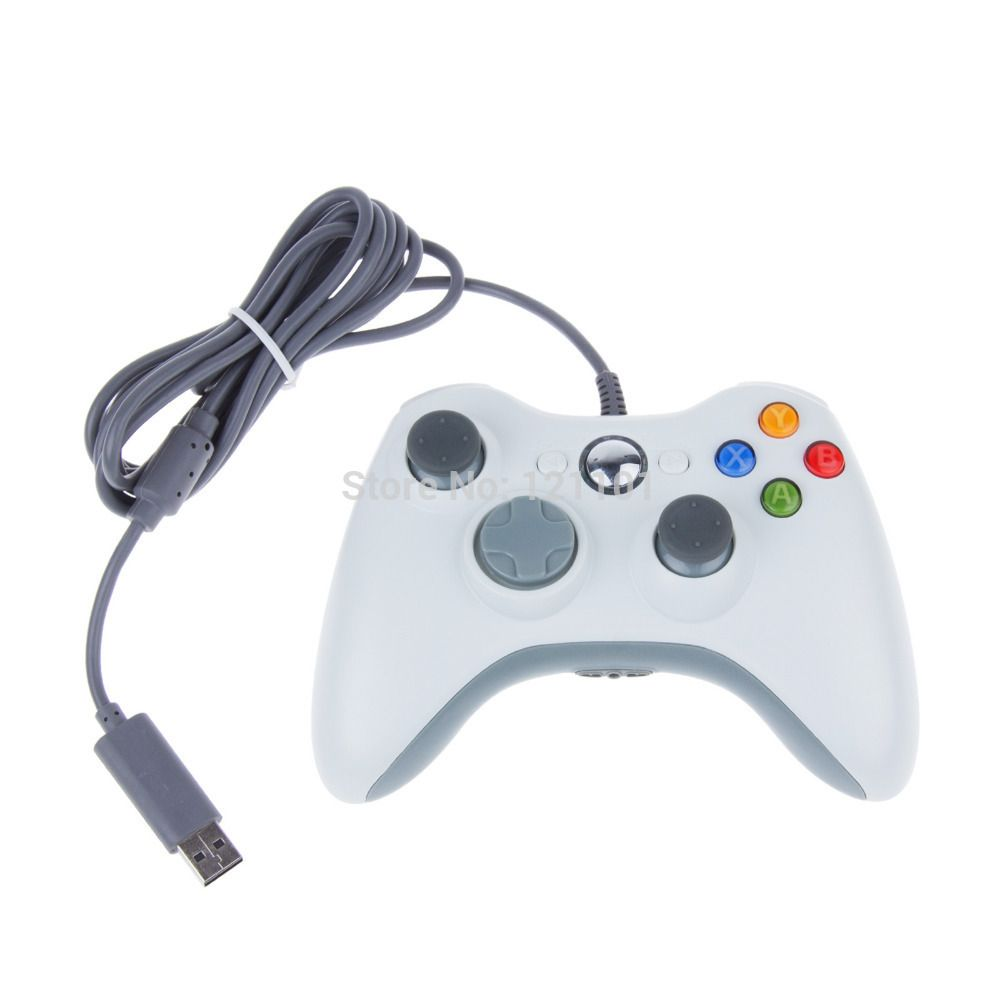 2 set Black White Color Wired Controller For XBOX 360 Wireless ...
