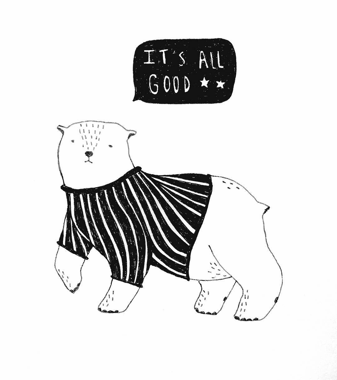 #dontworry  #behappy #allgood #cute #bear #animal #illustration #stripes #pullover #sweatshirt #lettering #drawing #freehand #blackandwhite #kids #kidsfashion #print #frame #decoration #star #oso #berlin #zoo #wild #play #design #friday #weekend #kidsdesign #toddler