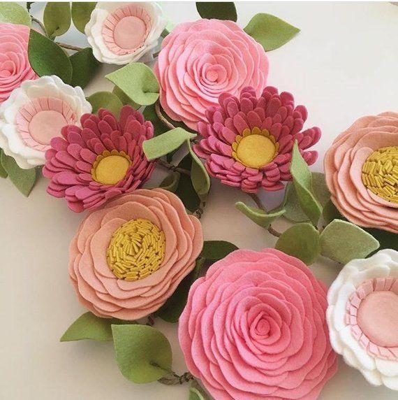 Pink Wildflower Felt Flower Garland Custom Made To Order Of Durable Wool Blend Felt With A 2 Week Turnarou Felt Flower Garland Felt Flowers Felt Flowers Diy
