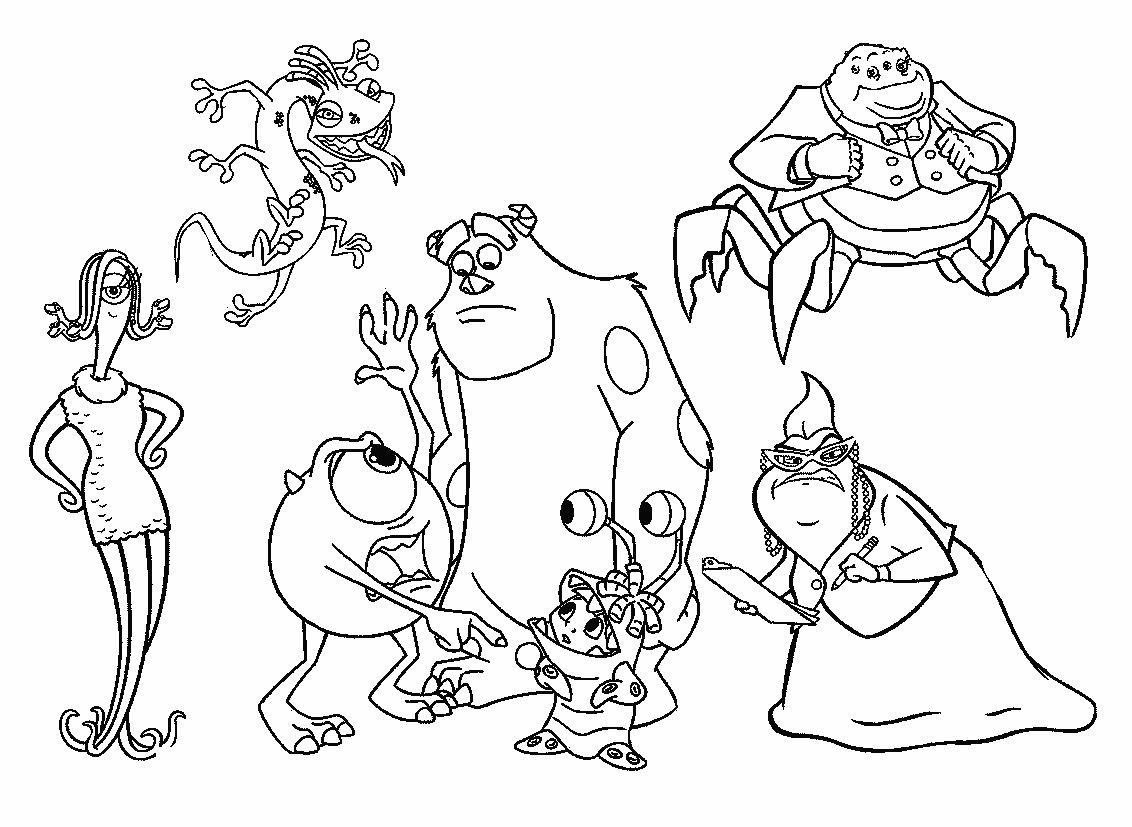 All Characters Monsters Inc Coloring Pages monster party