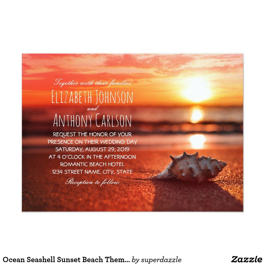 Sunset Beach Wedding Ideas: Ocean Seashell Sunset Beach Themed Wedding Invitation