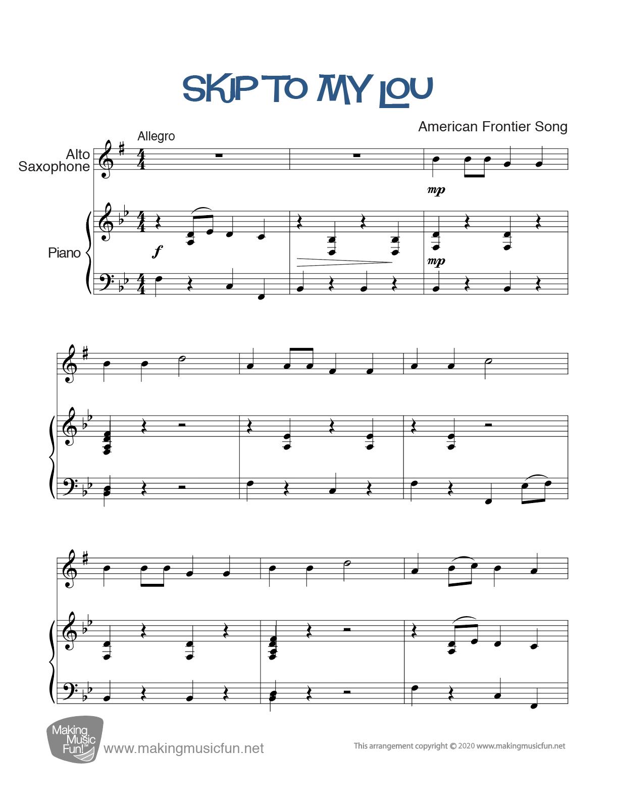 "Print ""Skip To My Lou"" Beginner Alto Saxophone Sheet"
