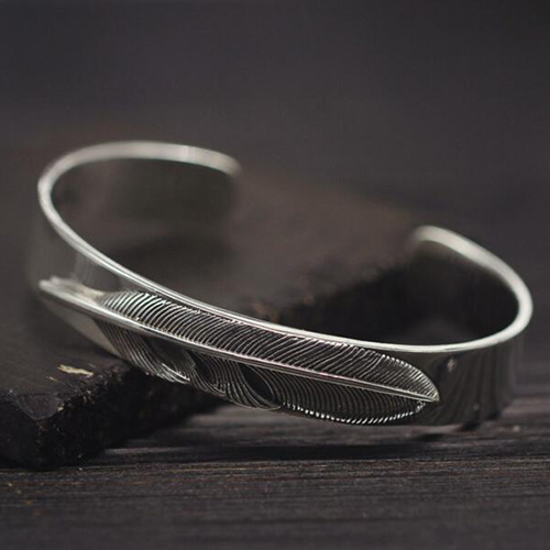 Mens Sterling Silver Feather Cuff Bracelet