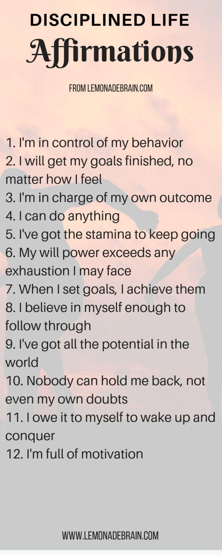 It's about Discipline | Affirmations, Positive affirmations, Daily affirmations