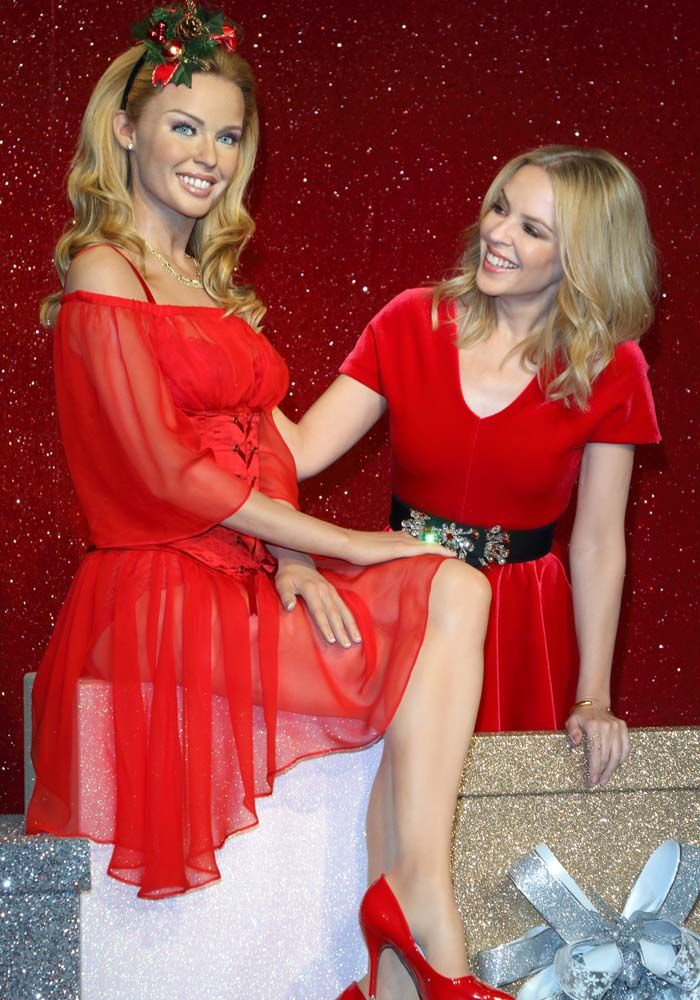 42d287aa82c Kylie Minogue Shares Her Christmas Won t Be Cold as She Reveals Her Wax  Figure in Jimmy Choo