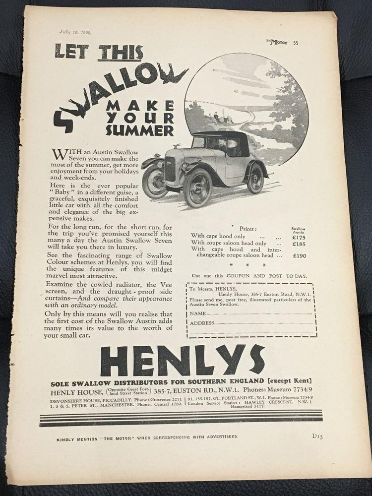 RARE 1928 SWALLOW / Henlys A4 Vintage B&W Car Advert + Hotchkiss On Reverse
