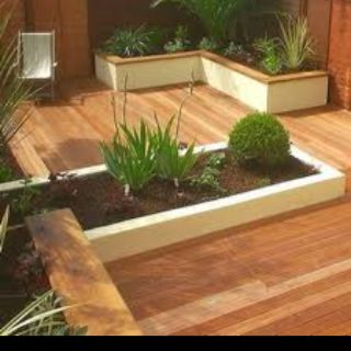 Decking ideas, like the idea of having separate beds, raised/edges. clean lines in the garden