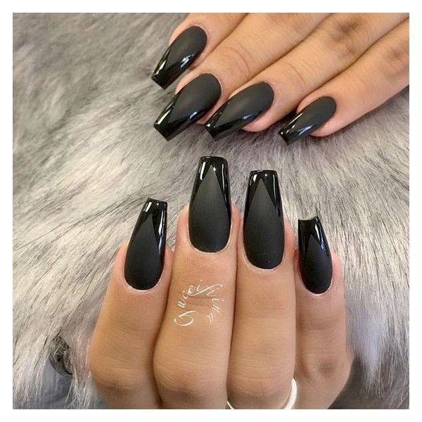Matte Black Glossy Tip Coffin Nails via Polyvore featuring nails ...