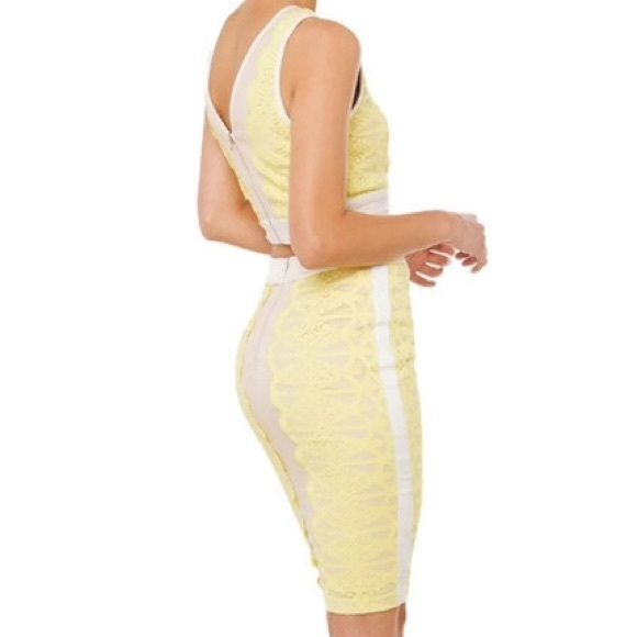 a05707602cf AKIRA Nude   Yellow Lace Embroidered Pencil Skirt AKIRA Nude   Yellow Lace  Embroidered Pencil Skirt