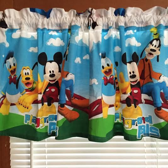 Mickey Mouse Friends Curtain Window Valance Extra Wide Etsy Bedroom And