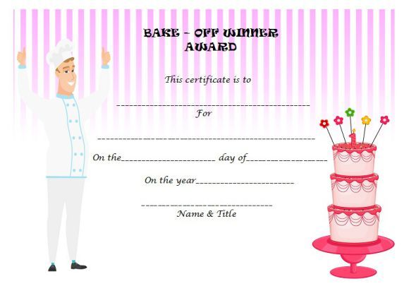 Bake off winner certificate Cake Competition Certificates