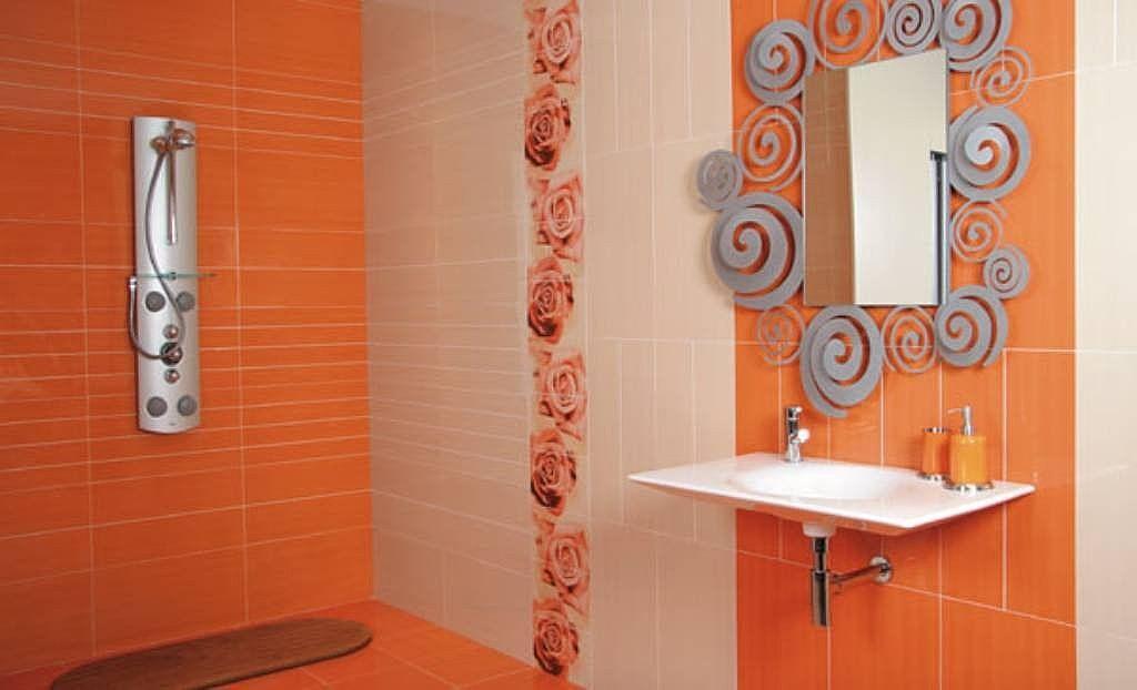 Pin De Studio De Color En Naranja Azulejos Pintados Banos