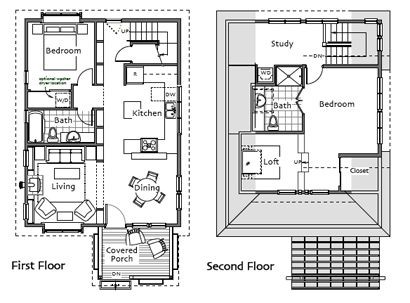 Small Homes By Ross Chapin Architects Add A Proper Entry A Back Door Behind The Kitchen Stairs W Tiny House Plans Small House Plans Home Design Floor Plans