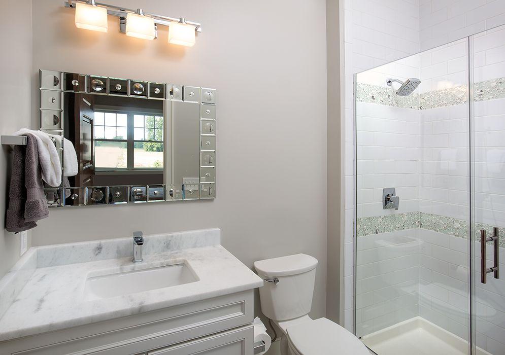 Bob Webb - Bath #3 Shower Wall Tile: Emser Tile Area 4x10 Glossy White,  Accent: Emser Tile Lucent Circle Mosaics - Ambretto Accent Tile 6