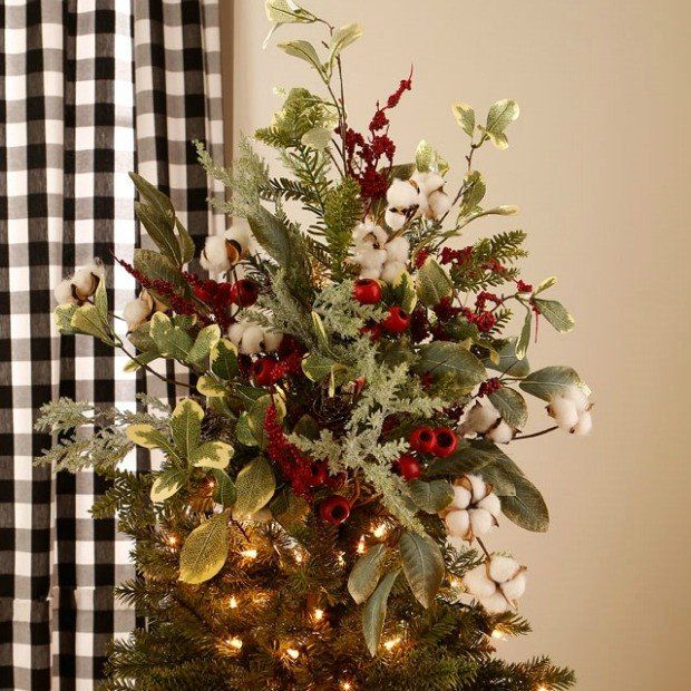 Christmas Cotton Pinecone And Berry Tree Topper Pick Christmas Tree Toppers Christmas Tree Ornaments Diy Christmas Lights