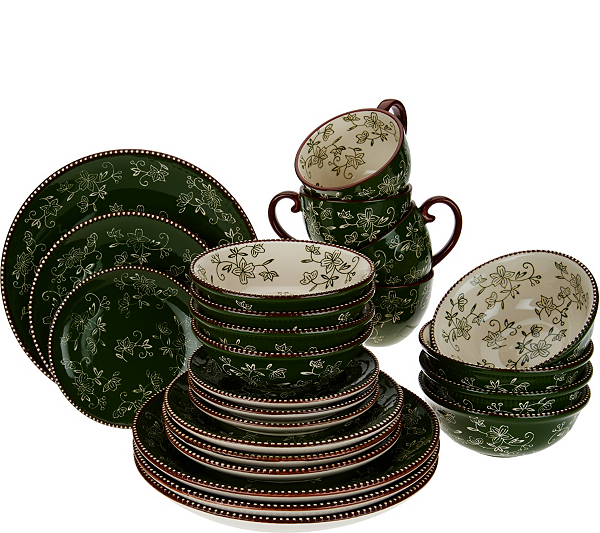 From Soup And A Sandwich To Hearty Salad This Temp Tations Floral Lace Dinnerware Set Prepares Your Table For Modern Meal In All Its Many Forms