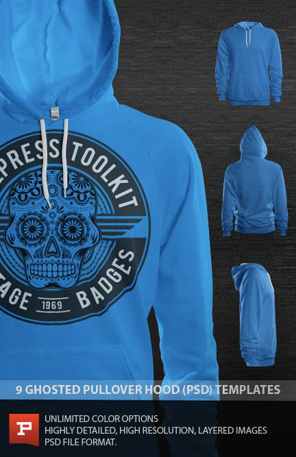 Download Ghosted Pullover Hood Template Psd Prepress Toolkit Hoodie Template Hooded Pullover Raglan Pullover