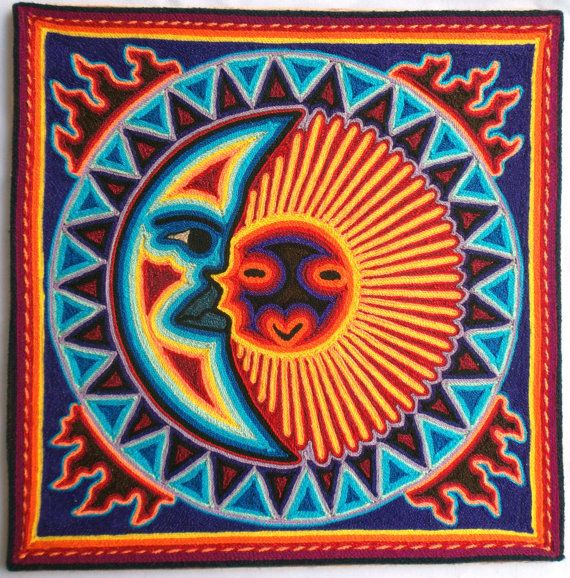 12 Mexican Huichol Sun And Moon Eclipse Yarn Painting By