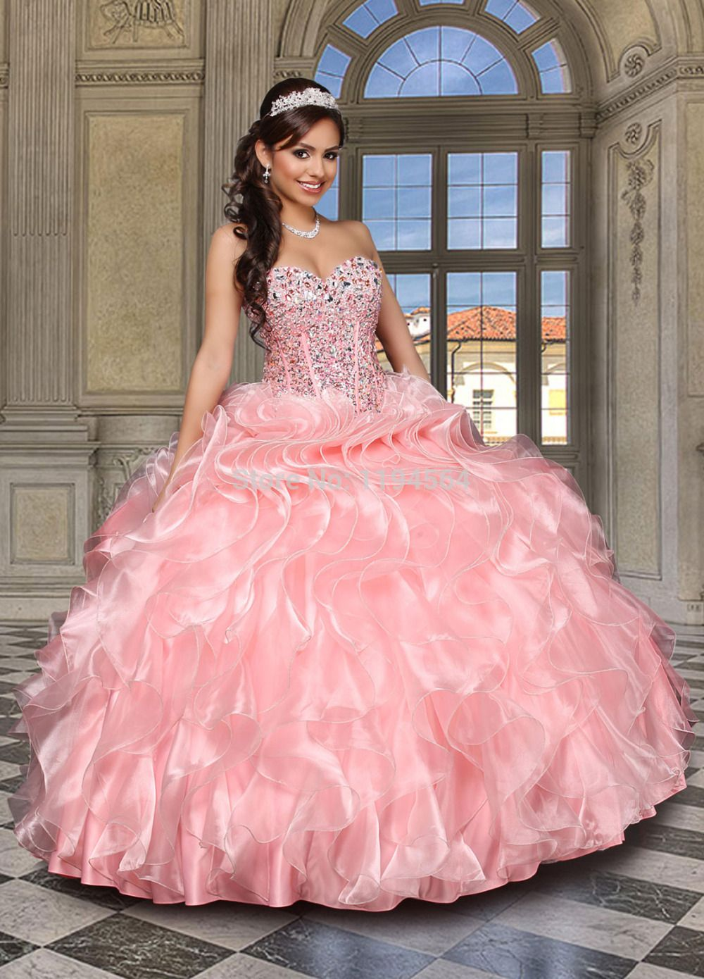 Stunning-Beaded-Pink-Quinceanera-Dresses-Ball-font-b-Gowns-b-font ...