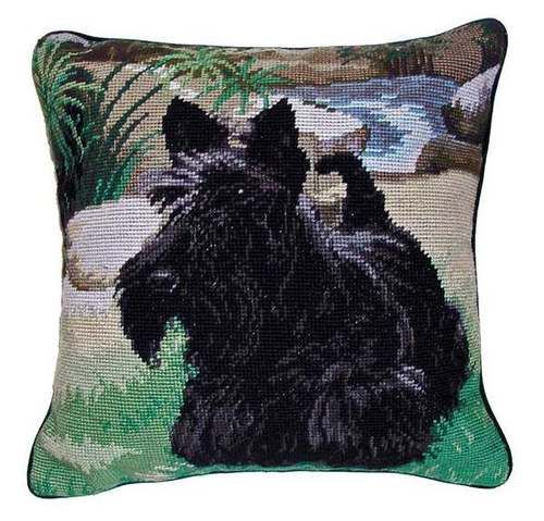 New Scottish Terrier Dog Needlepoint Wool Throw Pillow Ebay Dog Needlepoint Scottish Terrier Dog Throw