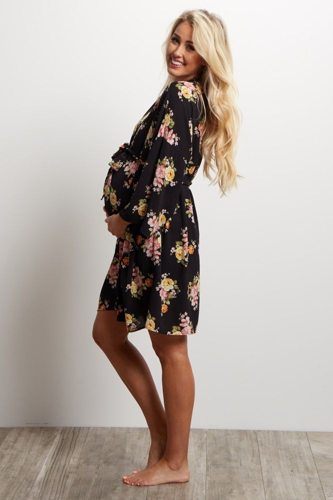 Black Floral Delivery Nursing Maternity Robe My Bambino
