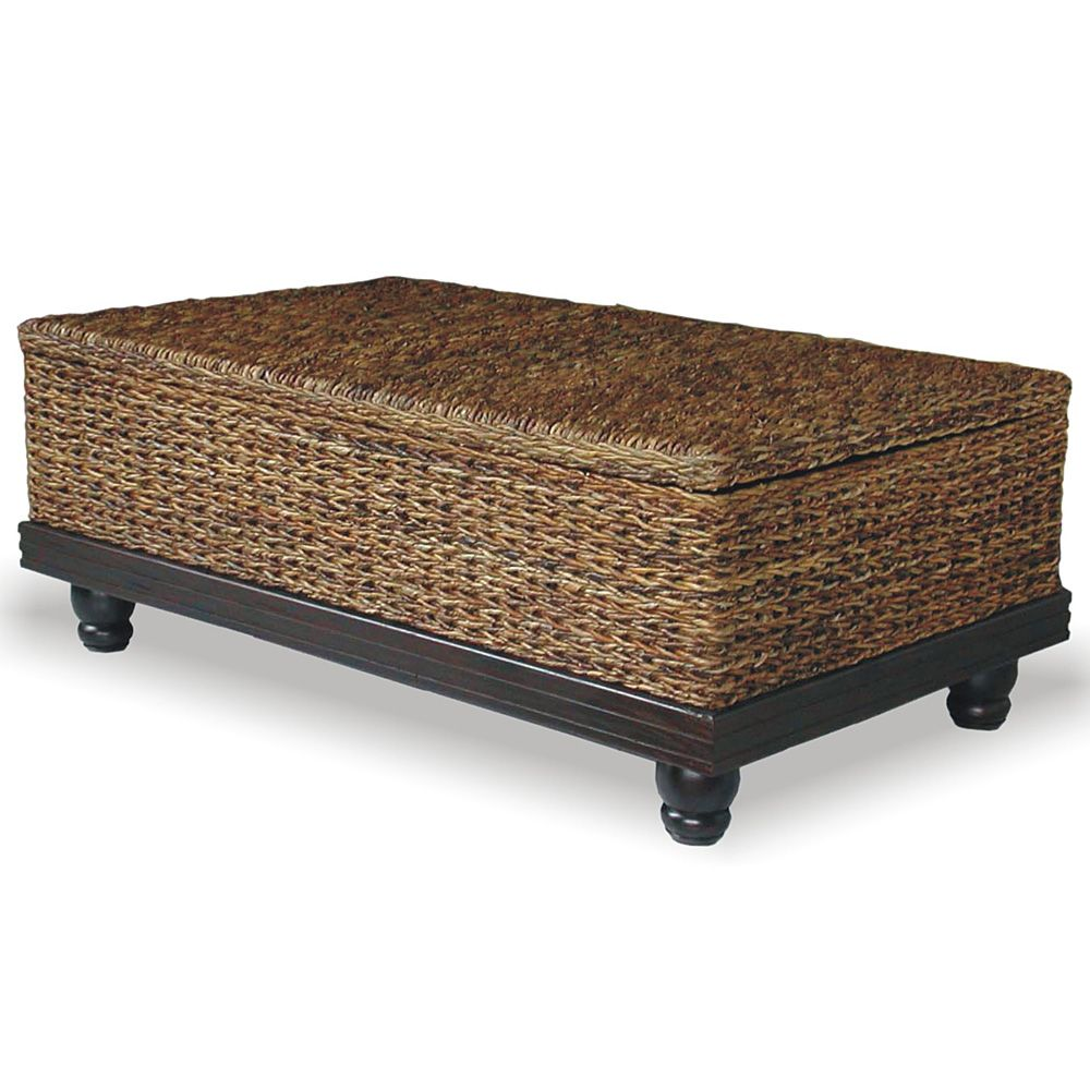 Meticulously Woven Brown Abaca Coffee Table With Storage