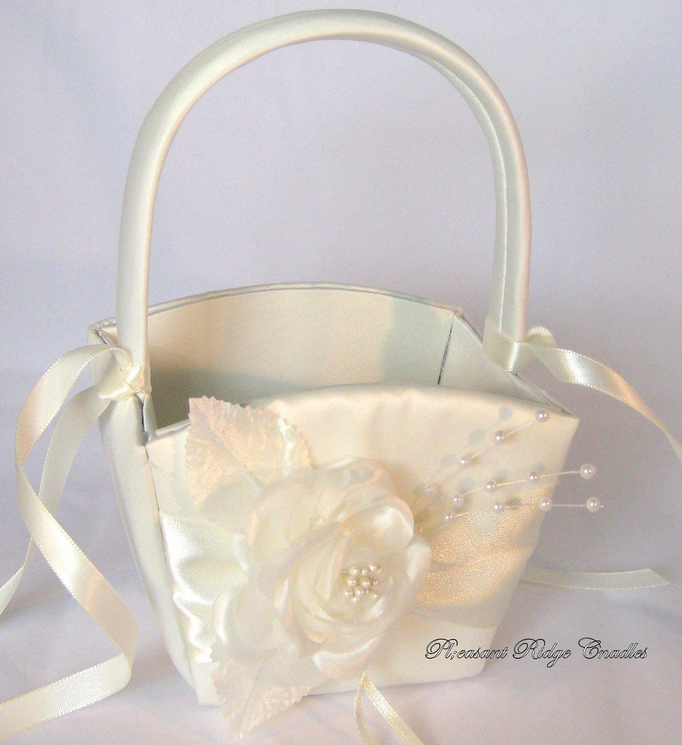 Ivory Flower Girl Basket Satin Flower Girl Basket White Flower Girl