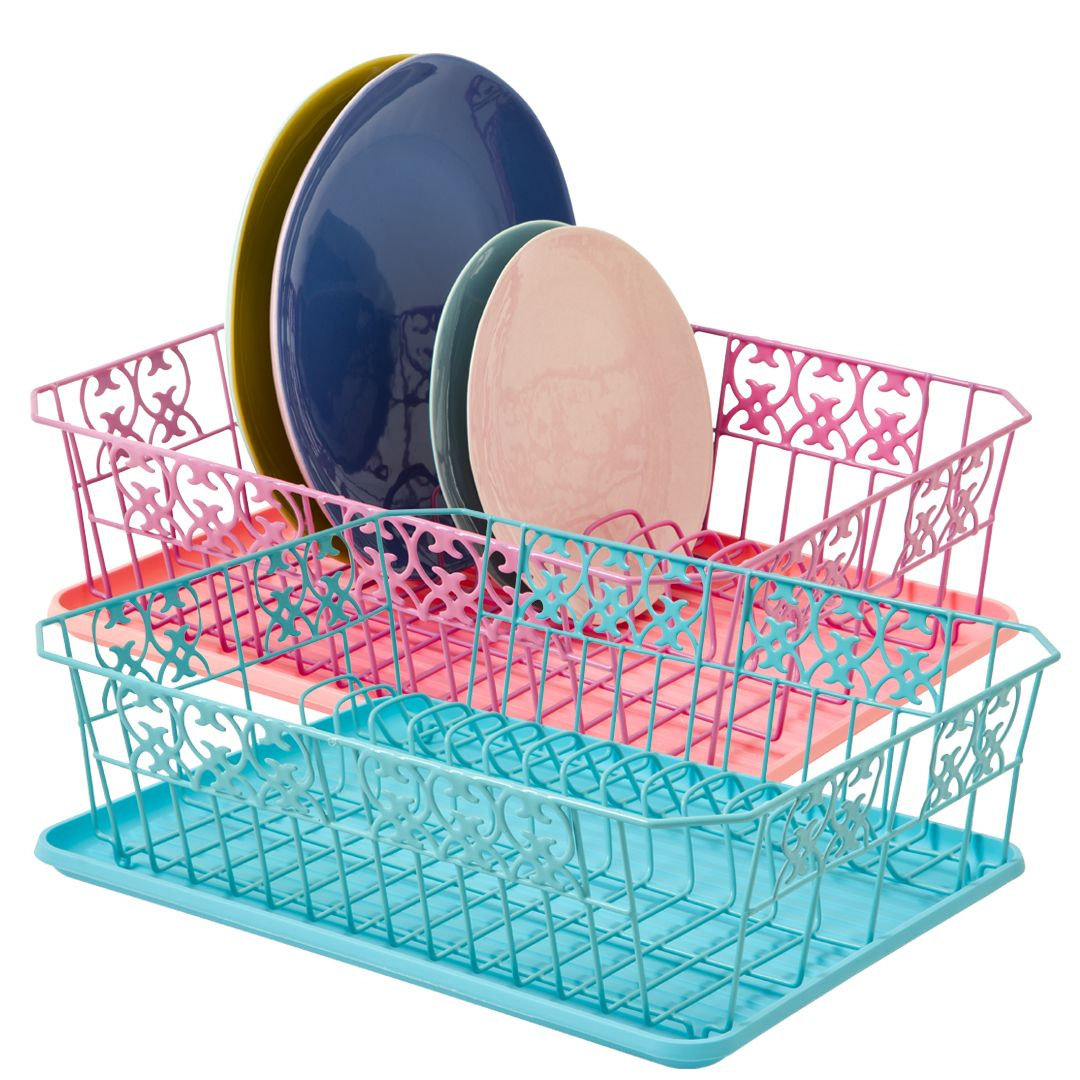 Metal Dish Drainer with Tray in Pink and Turquoise   Kitchenwares ...