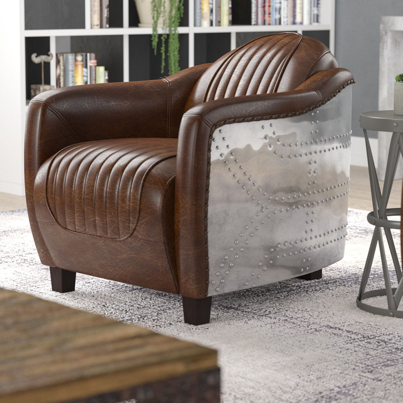 Foundstone Analise Barrel Chair Wayfair Barrel Chair Brown Leather Chairs Chair