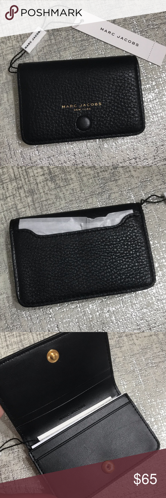 Nwt Marc Jacobs Empire City Business Card Case Business Card Case Leather Card Case Marc Jacobs