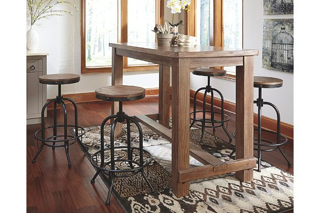 Pinnadel Dining Room Pub Table By Ashley Home Light Brown