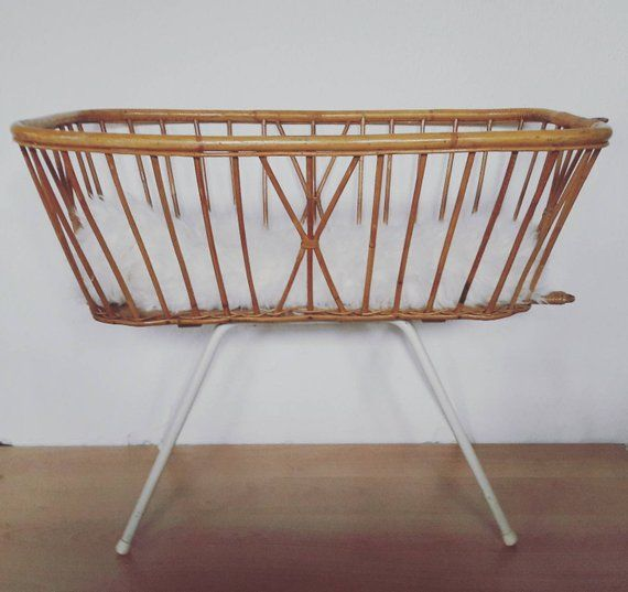 Vintage Rattan Crib Bassinet Cradle By Dirk Van Sliedrecht For Rohe
