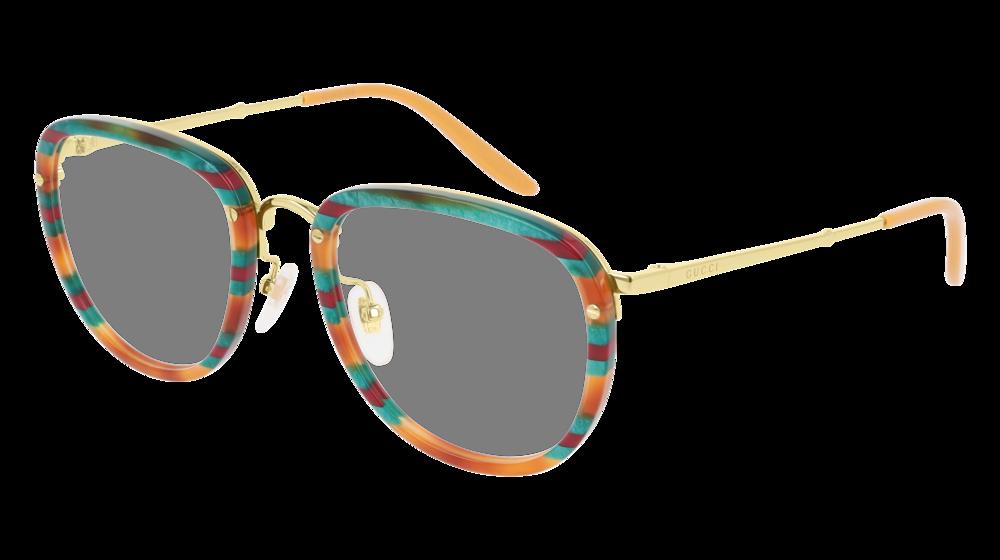 GUCCI GG0675O RECTANGULAR / SQUARE Eyeglasses For Men – 52-22-145 / GG0675O-004 HAVANA GOLD / TRANSPARENT MULTICOLOR