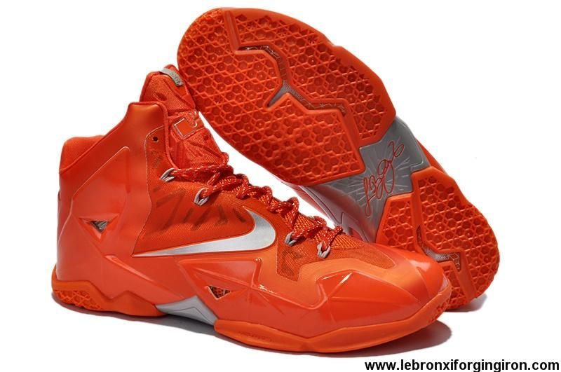 2014 Orange Silver Nike Lebron XI 616175 800 Discount Shoes store sell the cheap  Nike LeBron 11 online, it is high quality Nike LeBron 11 sneakers and we ...
